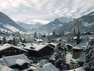 Gstaad - A wintertime view over the town Gstaad