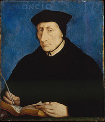 Guillaume Budé (26 January 1467 – 23 August 1540) was a French scholar and humanist. He was involved in the founding of Collegium Trilingue, which later became the Collège de France. Budé was also the first keeper of the royal library at the Palace of Fontainebleau, which was later moved to Paris, where it became the Bibliothèque nationale de France. He was an ambassador to Rome and held several important judicial and civil administrative posts.This picture is an oil-on-panel portrait of Budé, produced around 1536 by Jean Clouet, a painter at the court of King Francis I of France. He was a very skilful painter and many fine portraits are attributed to him, but his picture of Budé is his only documented work, being mentioned in Budé's handwritten notes. The painting is now held by the Metropolitan Museum of Art in New York City.