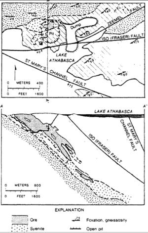 Gunnar Mine - Gunnar Mine geologic map and cross section