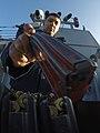 Gunner's Mate loading M16 magazines during small arms firing aboard USS Carney (DDG-64) 160211-N-FP878-346.jpg