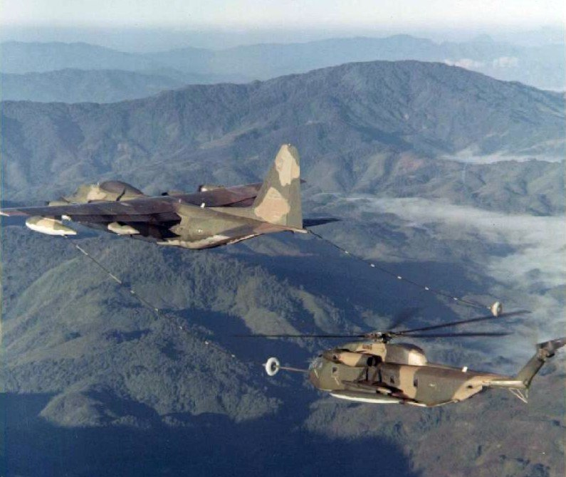 HC-130P refueling HH-53B over North Vietnam