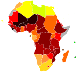 Африка Википедия Показатели Индекса развития человеческого потенциала в Африке 2004