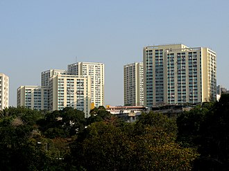 Public housing estates on Tsing Yi Island - Twin Tower style of Cheung Ching Estate