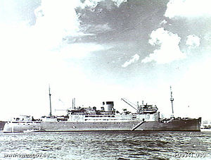HMAS Manoora (F48) - HMAS Manoora in 1942, carrying a Seagull V aircraft ahead of the funnel.