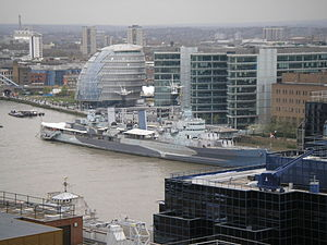 HMS Belfast from the Monument April 2006.JPG