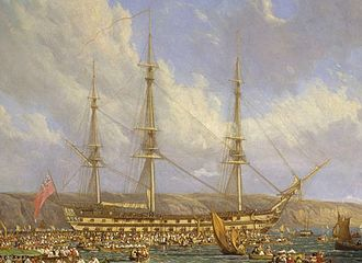 John Loring (Royal Navy officer, died 1808) - HMS Bellerophon, detail from Scene in Plymouth Sound in August 1815, an 1816 painting by John James Chalon. Loring commanded her both as an acting-captain for a few months in 1796, and as a full post-captain between 1801 and 1805.
