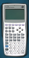 HP 39gs Graphing Calculator, front, power off, against blue background (37998589011).png