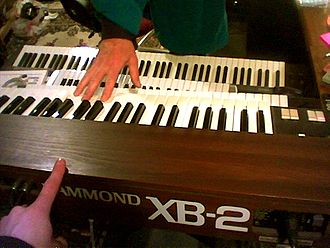Clonewheel organ - The Hammond XB-2 recreates the sound of the vintage electromechanical Hammond organs in a much lighter, smaller keyboard that uses electronic circuits to reproduce the sound of the spinning tonewheels.