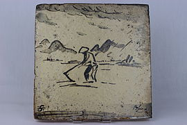 Hand-Built decorative tile by Bernard Leach (YORYM-2004.1.8).JPG