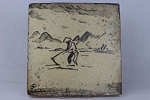 William Alfred Ismay - Image: Hand Built decorative tile by Bernard Leach (YORYM 2004.1.8)