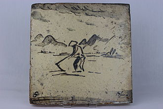 Bernard Leach - Hand-built decorative tile by Bernard Leach