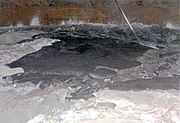 Image of the surface of waste found inside double-shell tank 101-SY at the Hanford Site, April 1989