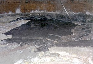 Environmental disaster - Image of the surface of waste found inside double-shell tank 101-SY at the Hanford Site, April 1989