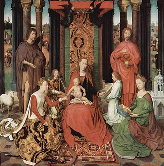St John Altarpiece (Memling) - The central panel, sometimes called The Mystic Marriage of St. Catherine, depicts the Virgin enthroned with Child. Saints Catherine and Barbara sit before her, John the Baptist and John the Evangelist stand behind.