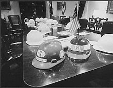 Hard hats on Nixon cabinet table May 26, 1970.jpg