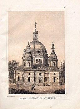 Hedvig Eleonora kirke på farvelitografi 1874