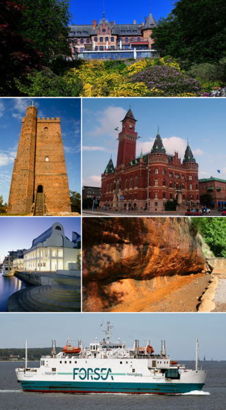 Helsingborg - Top :Sofiero Slott Castle, Second left:Karnan Medieval Tower, Second right:Radhuset (Helsingborg City Hall), Third left:Dunkers Kultuhus Museum, Third right :Ramlosa mineral water source site, Bottom:A cruise terminal in Helsingborg Bredgatan Port