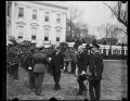 Herbert Hoover and military band outside White House, Washington, D.C. LCCN2016889238.tif
