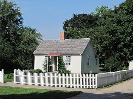 Herbert Hoover birthplace cottage in West Branch, Iowa Herbert Hoover birthplace.jpg