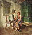 Hermann Kauffmann Tändelndes Paar beim Buttern in der Stube.jpg
