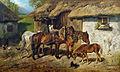 Hermine Biedermann-Arendts Angeschirrte Pferde am Stallgebäude.jpg