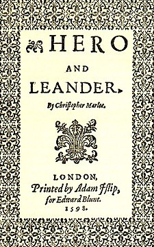 Title page to 1598 edition of Marlowe's Hero and Leander Hero-und-Leander.jpg
