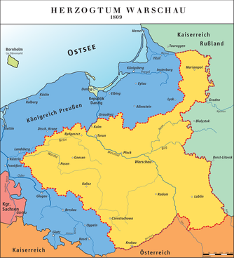 Das Herzogtum Warschau in den Grenzen von 1809