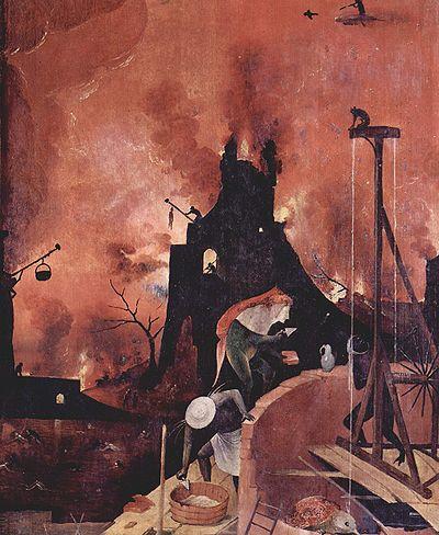 l'Enfer, détail du panneau de droite (Der Heuwagen, triptyque antérieur au Jardin des Délices de Jérôme Bosch)