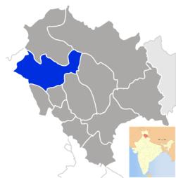 हिमाचल प्रदेश के मानचित्र में जिला काँगड़ा