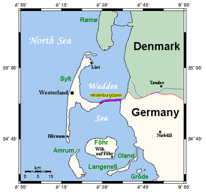 Hindenburgdamm - Hindenburgdamm on a map of the region. Causeways joining Oland, Langeneß and Rømø to the mainland are also shown.
