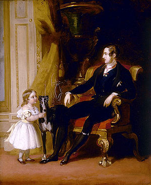 Victoria, Princess Royal - Victoria with her father Prince Albert and his greyhound Eos. Portrait by John Lucas, 1841.