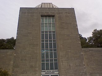 """Holcomb Observatory and Planetarium - The inscription reads """"The Heavens Declare The Glory Of God"""""""