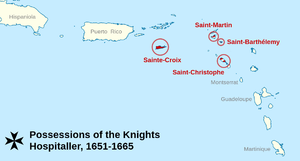Hospitaller colonization of the Americas - Map of the order's territories in the Caribbean