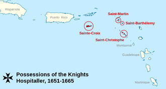 Map of the colonies of the order in the Caribbean during the 17th century Hospitaller colonization.png