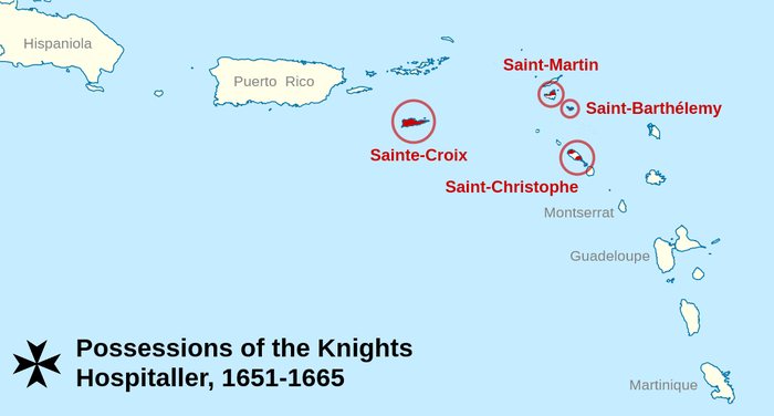 Map of the order's territories in the Caribbean