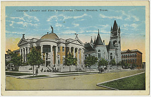 First Presbyterian Church (Houston) - The building behind the Carnegie Library served from 1896 until it burned down in 1932.