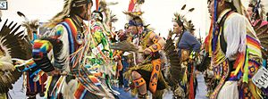 Fort Lewis College - Traditional dancers perform at the Hozhoni Days Powwow.