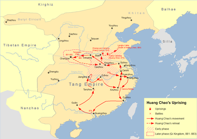 Administrative divisions of the tang dynasty wikipedia map of huang chao uprising in tang dynasty sciox Choice Image