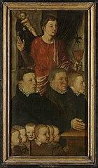 Linkervleugel van een memoriedrieluik (voorheen genoemd de Gertz memorietafel) met negen stichters met de heilige Johannes de evangelist (binnenzijde), en de heilige Petrus (buitenzijde)