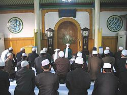 Hui people praying in a mosque in China