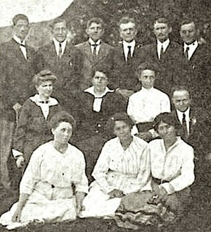 Hulda Stumpf - Stumpf (front left) with other students from the Moody Bible Institute, Kijabe, 1917