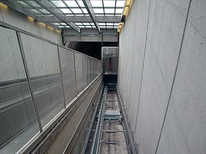 Huntington station (Washington Metro) - Inside Huntington Station's incline elevator.
