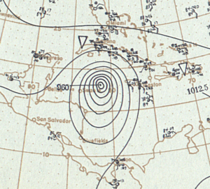 1903 Atlantic hurricane season - Image: Hurricane Two 1903 surface analysis September 12