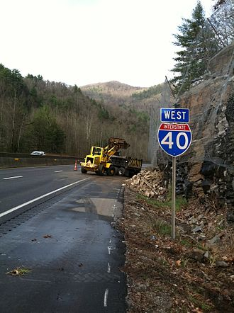 Interstate 40 in North Carolina - Crews clearing the westbound lanes from the 2012 rockslide