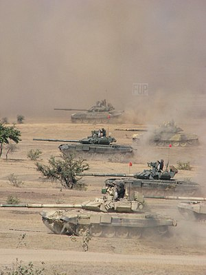 T-90 - Indian Army T-90 Bhishma tanks take part in a military training exercise in the Thar Desert, Rajasthan. The tanks have two different turret armor arrays.