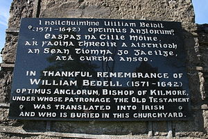 William Bedell - On a gate pillar of the graveyard beside Kilmore Cathedral, County Cavan