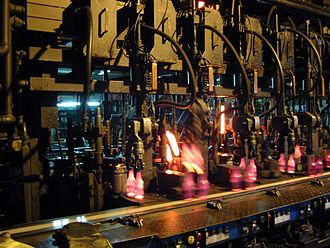 Glass production - IS machine during bottle production