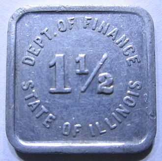 Square-shaped Illinois sales tax token Illinois Square Tax Token.jpg