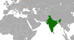 Map indicating locations of India and Moldova
