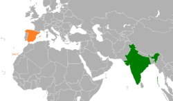 Map indicating locations of India and Spain